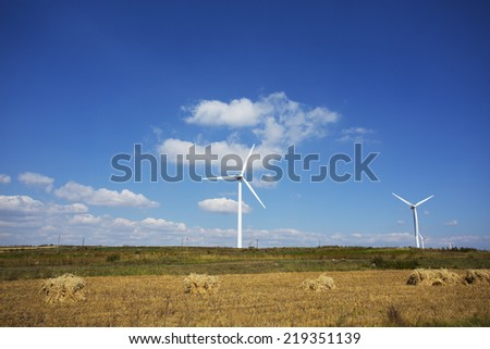 Wind farm at farmland against blue sky,north China