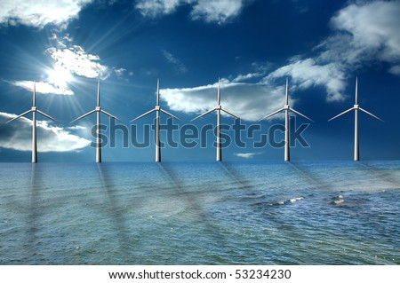 Wind farm at the sea - stock photo