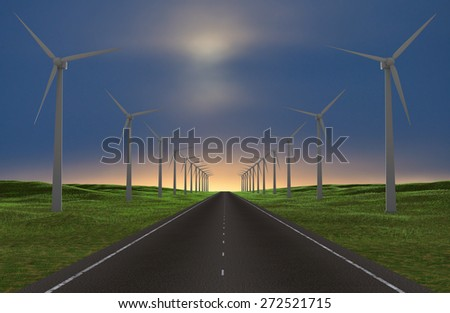 Wind farm by the road. - stock photo