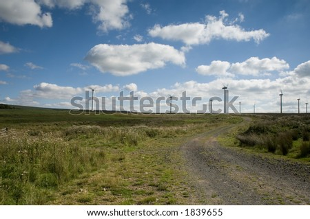 Wind farm close to the border between Scotland and England - stock photo