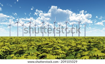 Wind Farm Computer generated 3D illustration - stock photo