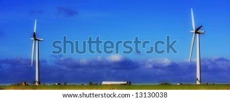 Wind farm construction Wiltshire - stock photo