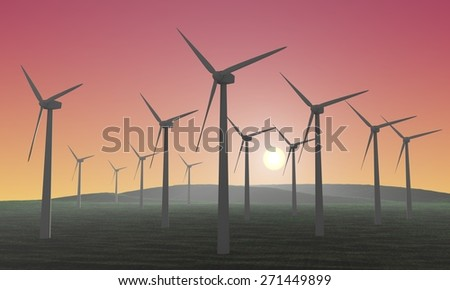 Wind farm - 3D rendered illustration - stock photo