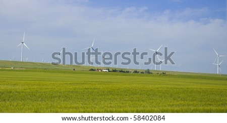 Wind Farm electrical turbines in a farmers canola field, Crowsnest Pass, Alberta, Canada