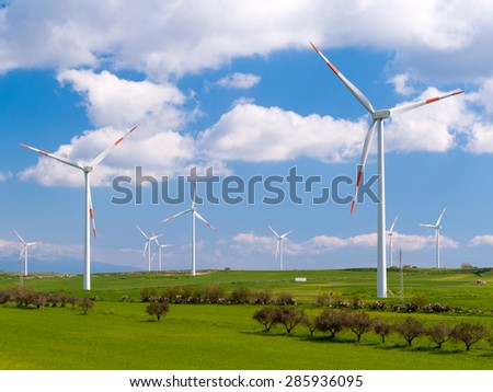 Wind farm in a field in Sicily