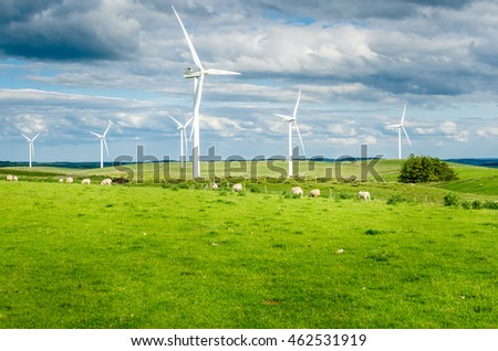 Wind Farm in Northumberland on a Spring Cloudy Day
