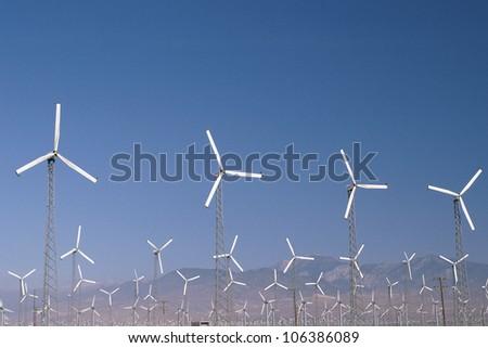 Wind farm in Palm Springs, California - stock photo