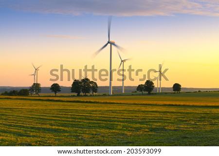 Wind farm in Poland - stock photo