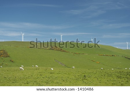 Wind farm in Welsh countryside. - stock photo