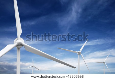 Wind farm: Industrial Eolic installation - stock photo