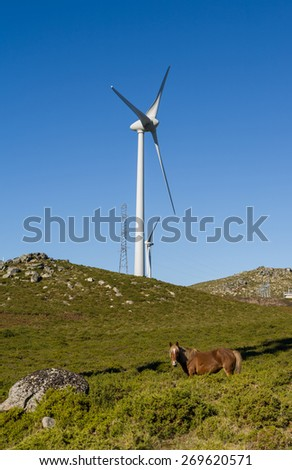 Wind farm. Modern windmills or wind turbines in the countryside landscape. Electricity is powered ecological and considered better for the environment over oil and other fossil fuels.   - stock photo