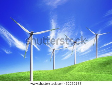 Wind farm on blue sky