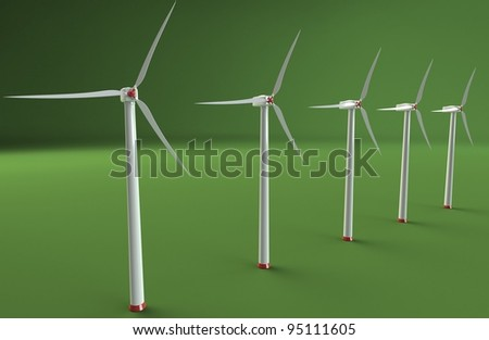 Wind farm on green background. - stock photo