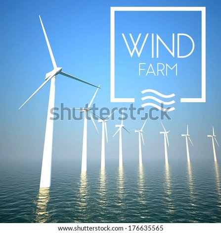 Wind farm on sea generating electricity energy - stock photo