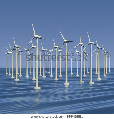 Wind farm or electrical generators at sea - stock photo