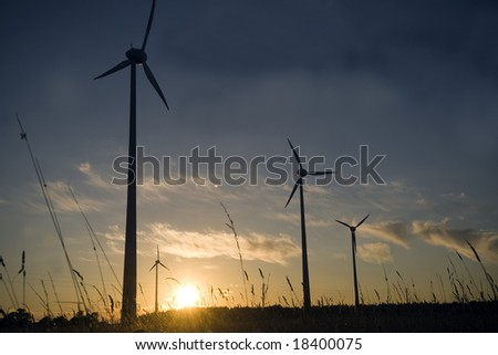 wind farm turbines generators rows at dusk