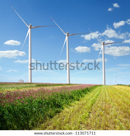 wind farms on the - stock photo