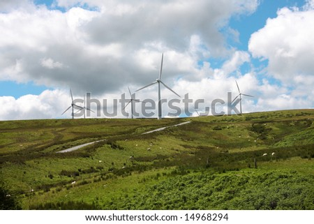 Wind Farms Turbines Wales UK - stock photo