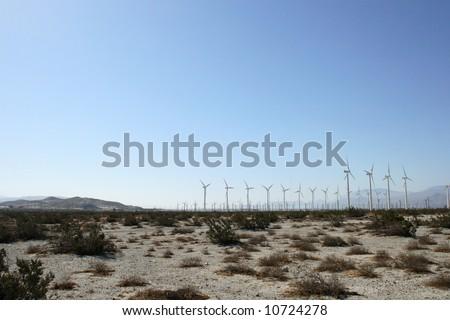 Wind fields in the desert of California - stock photo