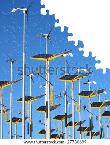 Wind generator and solar panel jigsaw puzzle - stock photo