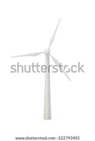 Wind generator turbine, Isolated on white, 3d render