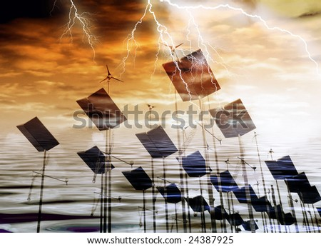 Wind generators and solar panels with storm weather effect - stock photo
