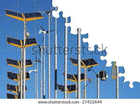 Wind generators and solar power jigsaw puzzle - stock photo