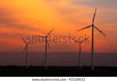 Wind generators at dusk