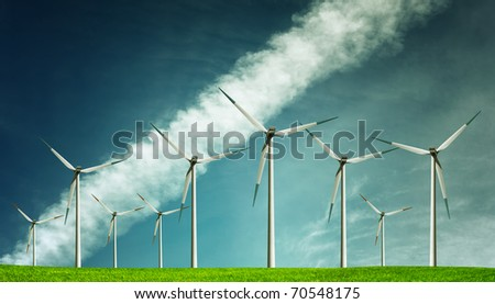 Wind Generators Farm - stock photo