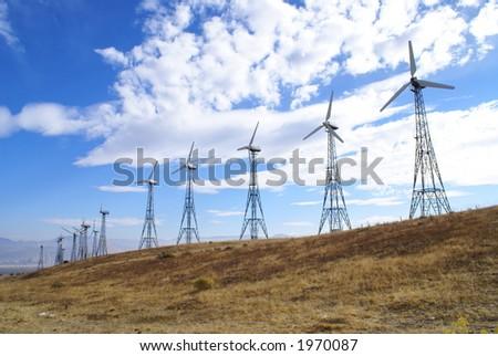 Wind generators in the Tehachapi Mountains, California - stock photo