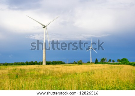 Wind generators on a fields. Estonia