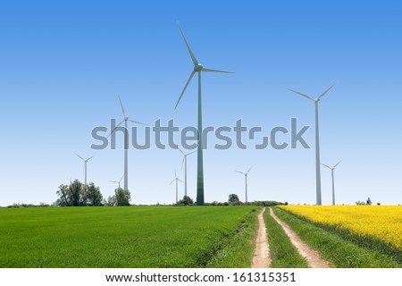 Wind generators - Power from renewable source - stock photo