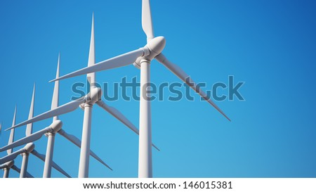 Wind Generators with Clipping Path  - stock photo