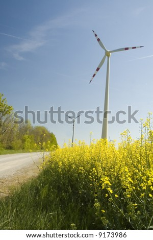 Wind generators with rapeseed fields.