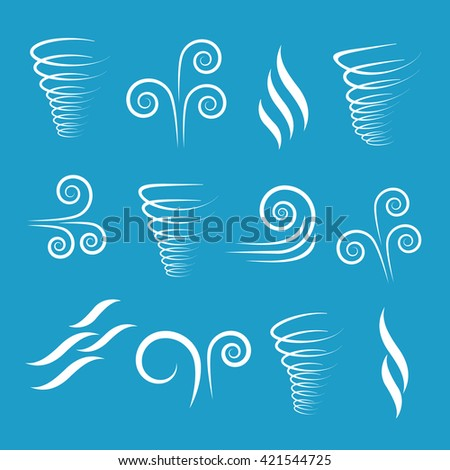 Wind icons nature, wave flowing, cool weather - stock photo