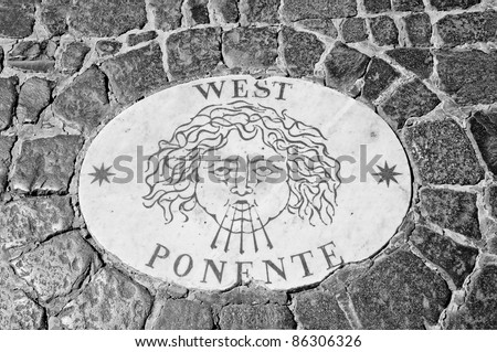 Wind inscription stone on St Peter square, Rome (as seen on Angels and demons movie) - stock photo
