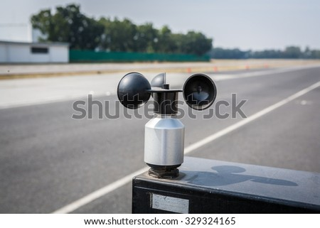 wind meter, weather station - stock photo