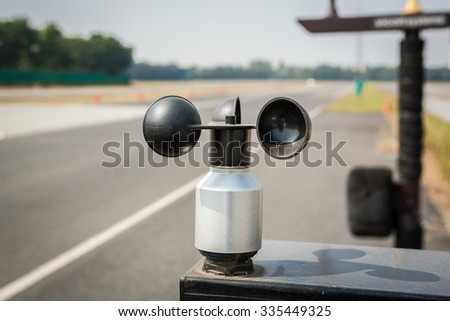 wind meter, weather station in the test course - stock photo
