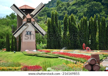 Wind mill and flower fields at the park in Thailand