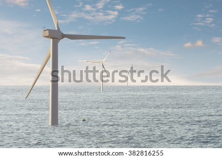 Wind mill offshore windpark. Ecologic electric energy source. - stock photo