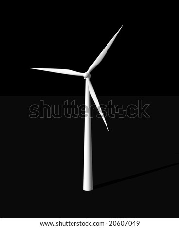 wind mill on black background - 3d illustration - stock photo