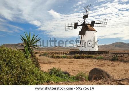 Wind mill on Fuerteventura - stock photo