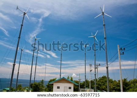 Wind mill power plant on Lan island,Pattaya city,Thailand