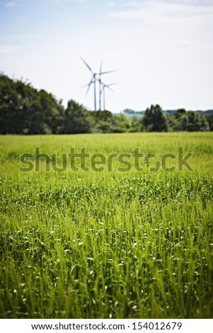 Wind mills in green field - stock photo