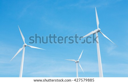 Wind mills on blue clear sky background. 3D Rendering