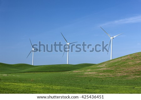 Wind mills on the Palouse region of eastern, Washington.