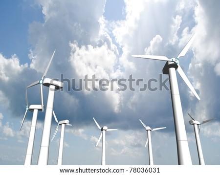 Wind mills, renewable energy. 3d - render. - stock photo