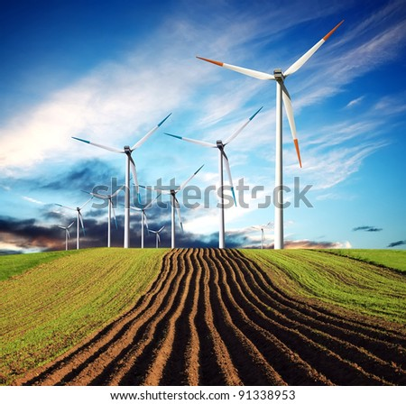 Wind of change ecology - stock photo