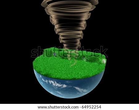 wind on globe - stock photo