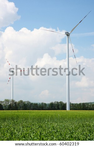 Wind park in the country - stock photo